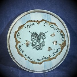 Laurie Cabot Crafts Round Blue Pendulum Board with Unicorns and Jewels by Official Salem Witch Laurie Cabot
