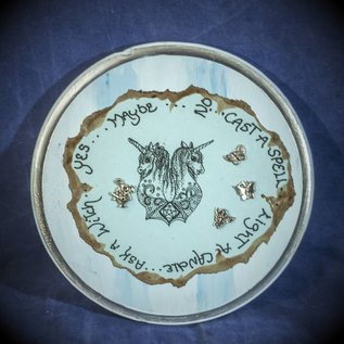OMEN Round Blue Pendulum Board with Unicorns and Jewels by Official Salem Witch Laurie Cabot