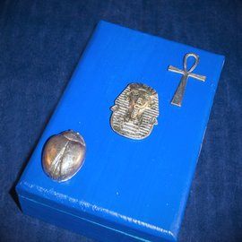 OMEN Royal Blue Egyptian Tarot Box, with Scarab, Ankh and Pharoah by Official Salem Witch Laurie Cabot.