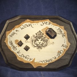 OMEN Rectangular Black Pendulum Board with Lion and Jewels by Official Salem Witch Laurie Cabot