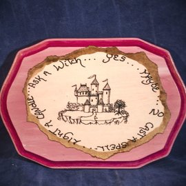 Laurie Cabot Crafts Rectangular Pink Pendulum Board with Castle by Official Salem Witch Laurie Cabot