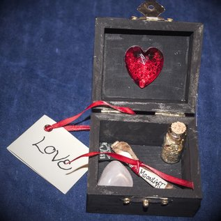 OMEN Black Love Spell Box with Red Jewel and Heart by Official Salem Witch Laurie Cabot