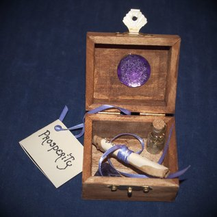 Laurie Cabot Crafts Wood Stained Prosperity Spell Box with Purple Jewels by Official Salem Witch Laurie Cabot