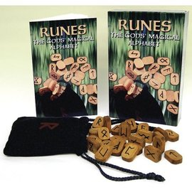 OMEN Runes Kit: The Gods' Magical Alphabet [With 25 Wood Runes and Paperback Book and Black Runebag]