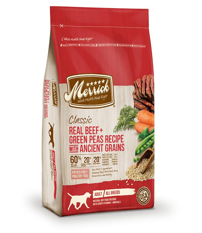 Merrick Classic Real Beef + Green Peas Recipe with Ancient Grains for Dogs