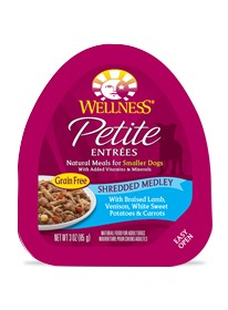 Wellness - Complete Health Petite Entrees Shredded Medly with Braised Lamb, Venison, White Sweet Potatoes & Carrots for Dogs
