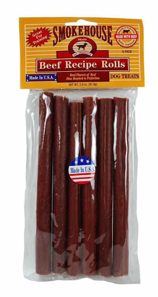 Smokehouse Smokehouse USA Beefy Rolls Dog Treat 6 Pack