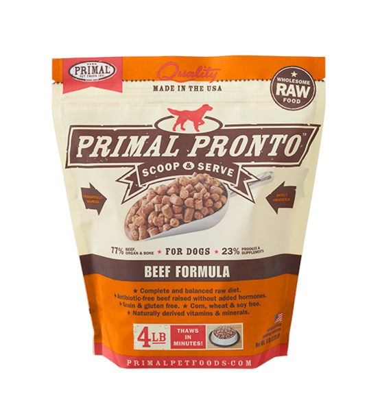 Primal Primal Pronto Frozen Raw Dog Food Beef 4 lb.