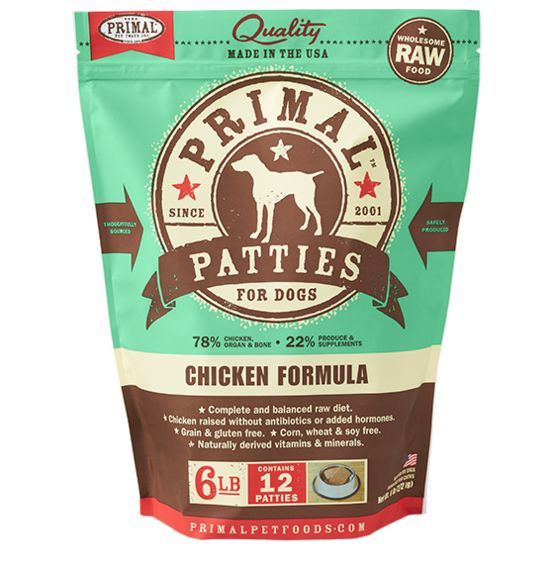 Primal Primal Frozen Raw Dog Food Chicken Patties 6 lb.