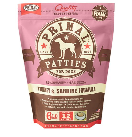 Primal Primal Frozen Raw Dog Food Turkey Sardine Patties 6 lb.