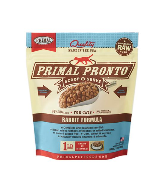 Primal Primal Pronto Frozen Raw Cat Food Rabbit 1 lb.
