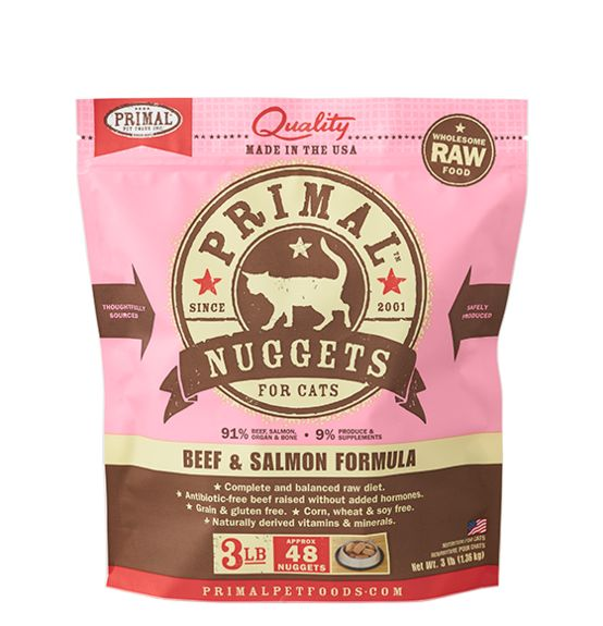 Primal Primal Frozen Raw Cat Food Beef And Salmon Nuggets 3 lb.