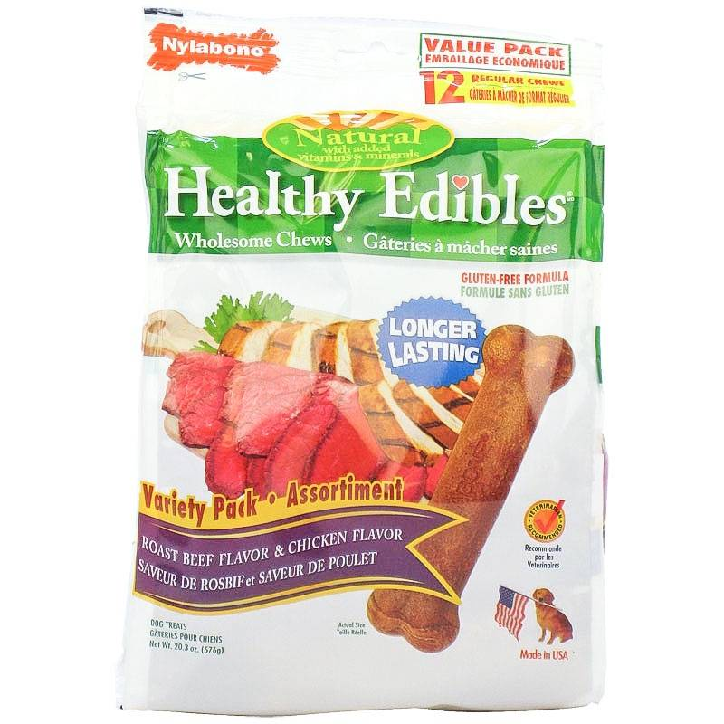 Nylabone Edibles Regular Chicken/Beef 12 Pack