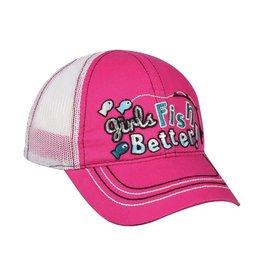 OUTDOOR CAP GIRLS FISH BETTER PINK TODDLER HAT -ADJUSTABLE