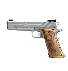 "SIG SAUER SIG SAUER 1911 45 ACP STAINLESS FINISH TARGET BIRCH GRIP 5"" 8RD STEEL MAG"