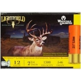 "LIGHTFIELD LIGHTFIELD HYBRED LITES 12GA 2 3/4"" 546 GR SABOT SLUGS 5 RDS"