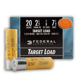 FEDERAL FEDERAL TOP GUN 20 GA 2 1/2 DRAM  7/8 OZ  7 1/2 SHOT 25 SHELLS