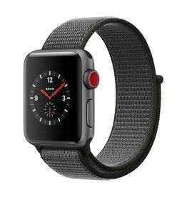 Apple Watch series 3 - 38MM - Space Grey Aluminium - Dark Olive Sport Loop