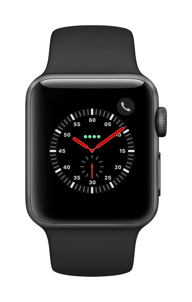 Apple Watch series 3 - 42MM - Space Grey Aluminium Case - Black Sports Band