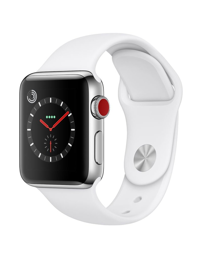 Apple Watch series 3 - 38MM - Stainless Steel Case - Soft White Sport Band