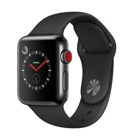 Apple Watch series 3 - 38MM - Space Black Stainless Steel Case - Black Sport Band