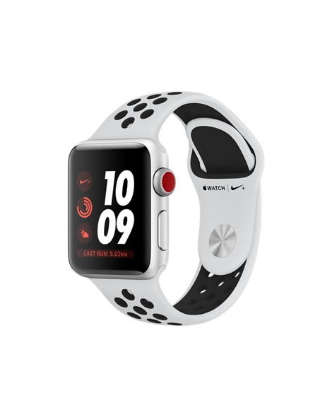 Apple Watch Nike+ GPS + Cellular - 38MM - Silver Aluminium Case with Pure Platinum/Black Nike Sport Band