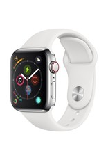Apple Watch series 4 GPS, Cellular, 40MM, Stainless Steel Case, White Sport Band