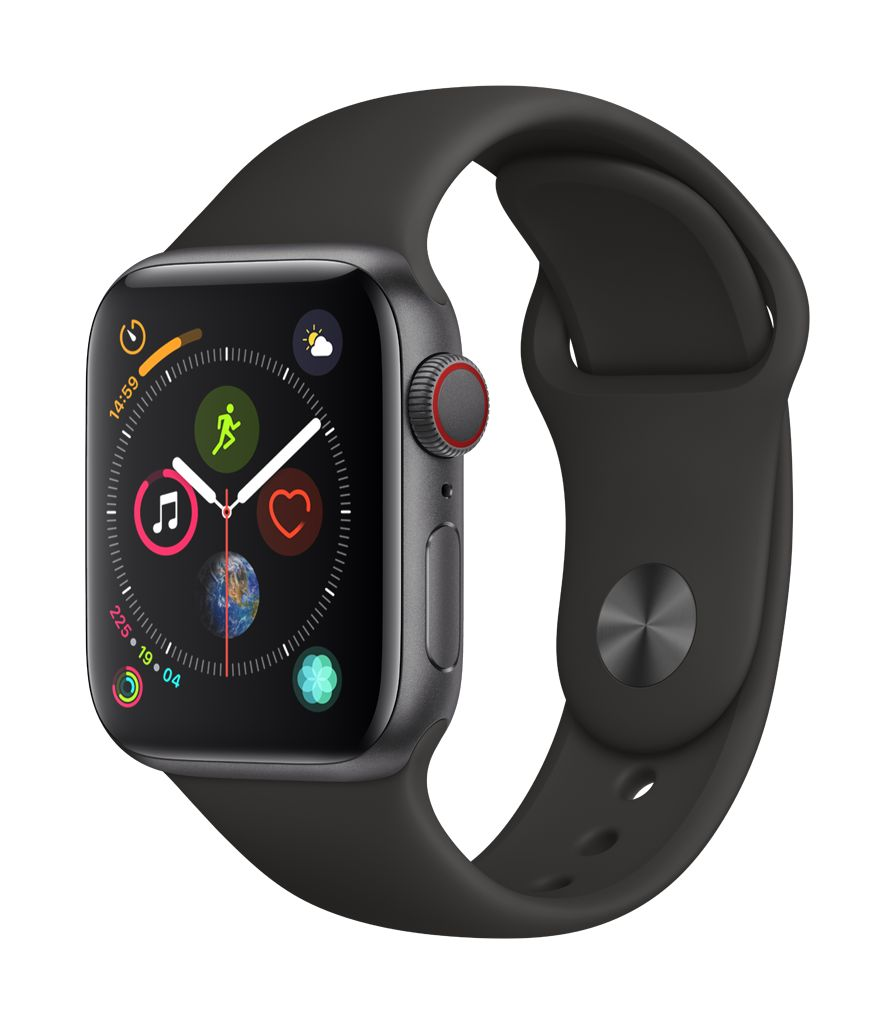 Apple Watch series 4 GPS, Cellular, 40MM, Space Black Stainless Steel Case, Black Sport Band