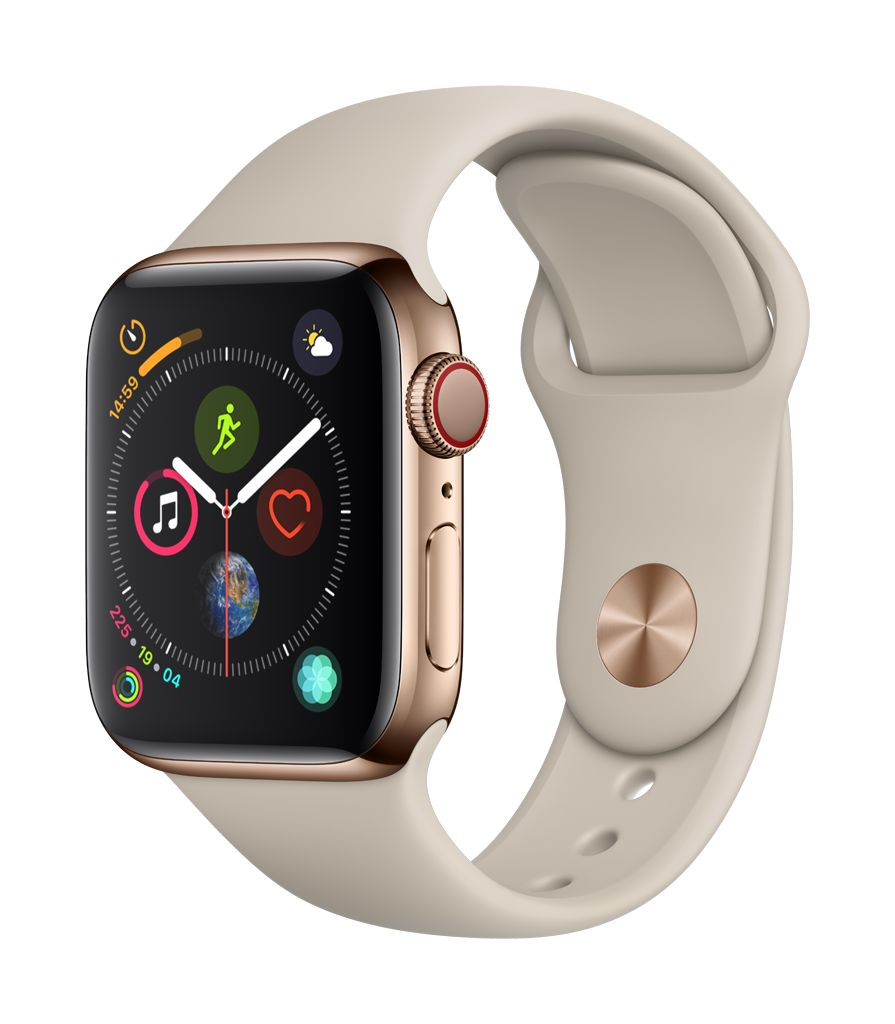 Apple Watch series 4 GPS, Cellular, 44MM,Gold  Stainless Steel Case, Stone Sport Band