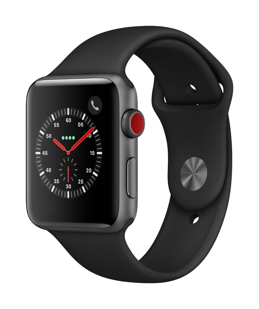 Apple Watch series 3 GPS, 42MM, Space Grey Aluminium Case, Black Sport Band