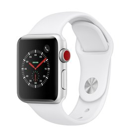 Apple Watch series 3 GPS, Cellular, 38MM, Silver Aluminium Case, White Sport Band
