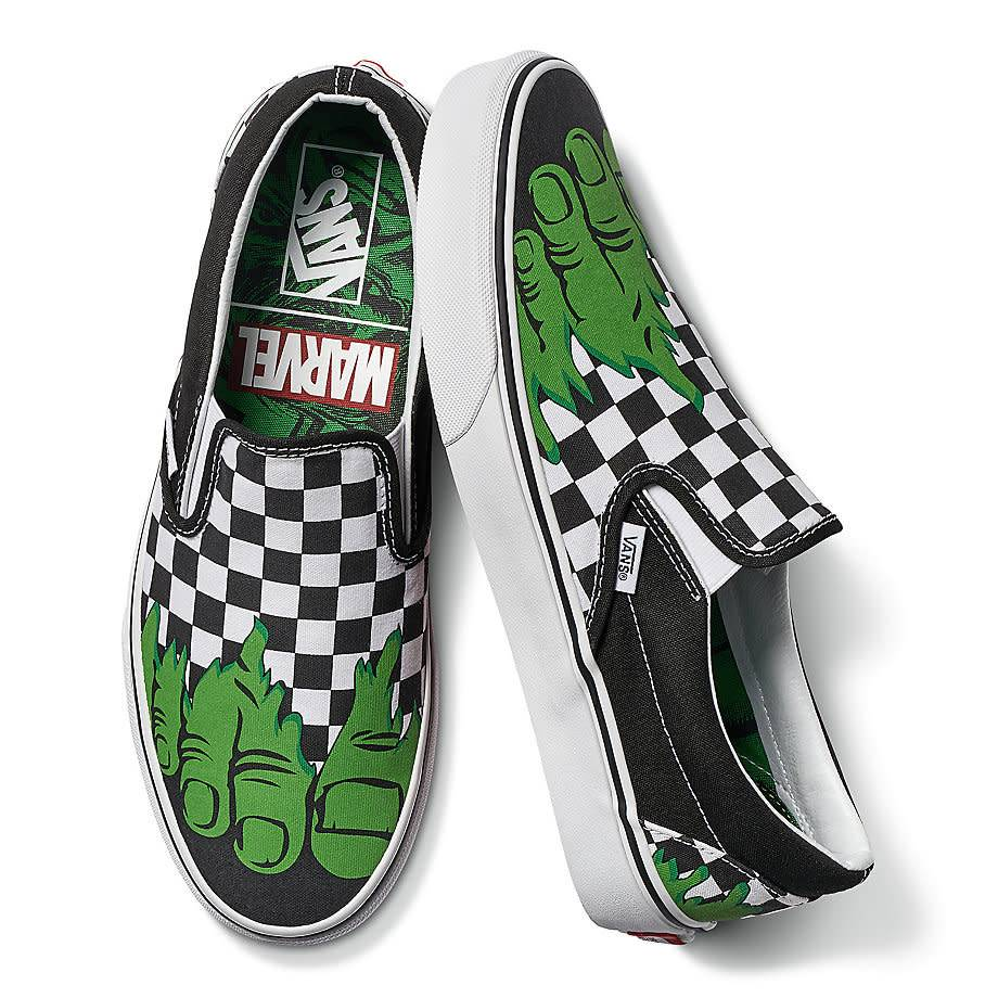 VANS Classic Slip On MARVEL Hulk/Checkerboard (VN0A38F7U44 ...