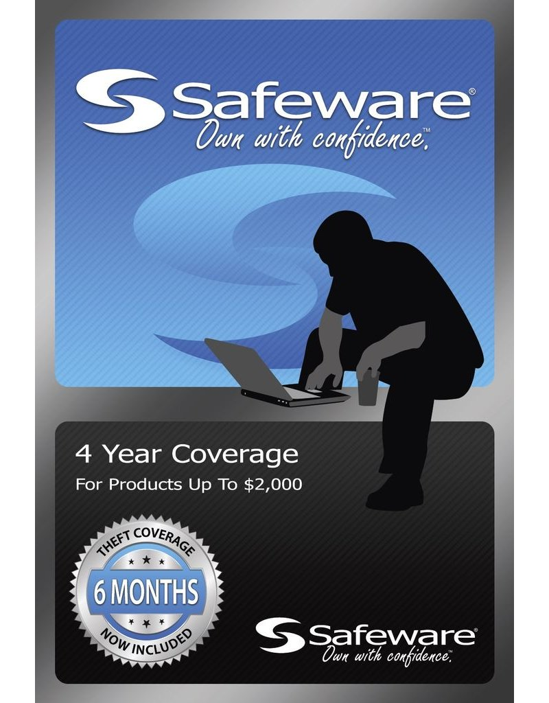 Safeware Safeware 4 Year Coverage for Products up to $2000 Blue Card Accidental Damage and theft coverage.