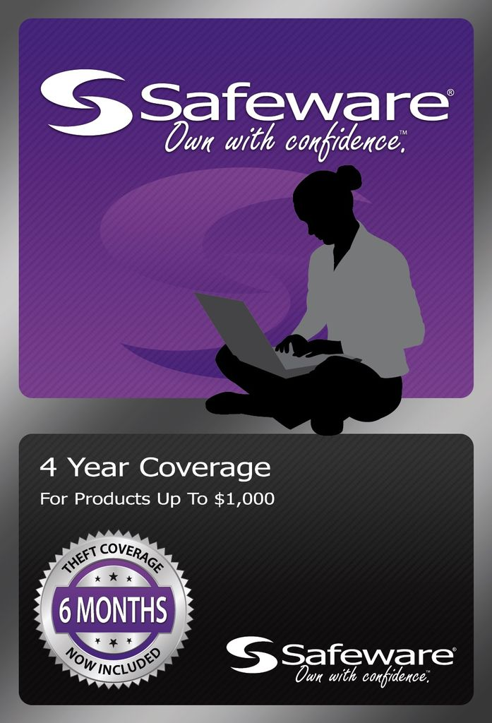 Safeware Safeware 4 Year Coverage for Products up to $1,000 Purple Card Accidental Damage and theft coverage.
