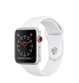 Apple Apple Watch Series 3 GPS + Cellular, 38mm Silver Aluminum Case with White Sport Band