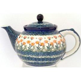 Ceramika Artystyczna Teapot Size 3 Poppies Orange