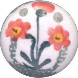 Ceramika Artystyczna Drawer Pull Poppies Orange