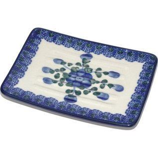 Ceramika Artystyczna Rectangular Soap Dish Blue Rose