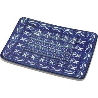 Ceramika Artystyczna Rectangular Soap Dish Blue Silk