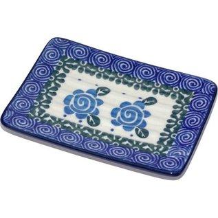 Ceramika Artystyczna Rectangular Soap Dish Lady Godiva Blue