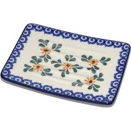 Ceramika Artystyczna Rectangular Soap Dish Triple Daisy