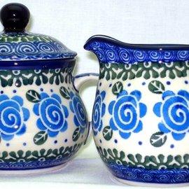Ceramika Artystyczna Cream & Sugar Set Lady Godiva Blue