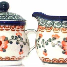 Ceramika Artystyczna Cream & Sugar Set Rose Tangerine