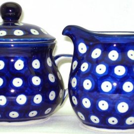 Ceramika Artystyczna Cream & Sugar Set Royal Blue