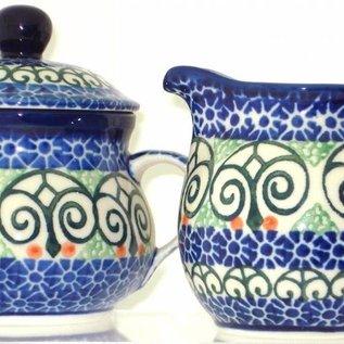 Ceramika Artystyczna Cream & Sugar Set Stained Glass