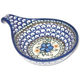 Ceramika Artystyczna Spoon Rest Size 2 Apple Blossom Blue