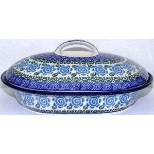 Ceramika Artystyczna Oval Covered Baker Size 2 Lady Godiva Blue
