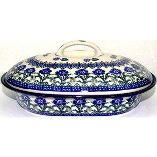 Ceramika Artystyczna Oval Covered Baker Size 2 Rosie's Garden