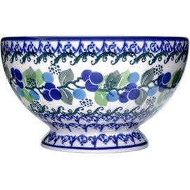 Ceramika Artystyczna Pedestal Bowl Size 1 Blueberry Vine
