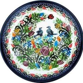 Ceramika Artystyczna Dinner Plate Love Birds Signature